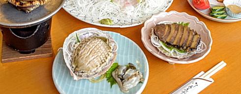 あわび一人3個つき「踊り焼き・造り・煮貝」DXコース旬の魚活き造り付き